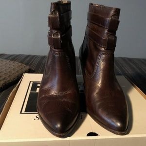 Dark Brown Frye Rena Buckle Boot